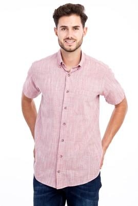 Erkek Giyim - Kırmızı L Beden Kısa Kol Regular Fit Desenli Gömlek