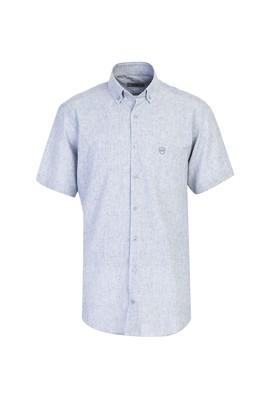 Erkek Giyim - SİYAH L Beden Kısa Kol Desenli Spor Gömlek