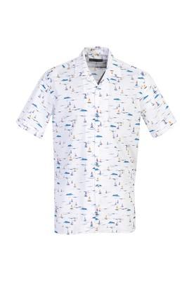 Erkek Giyim - BEYAZ M Beden Kısa Kol Baskılı Spor Gömlek