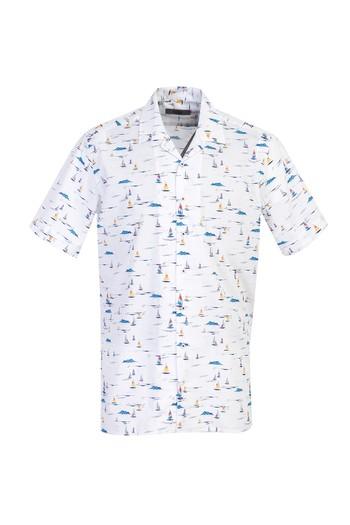 Erkek Giyim - Kısa Kol Regular Fit Baskılı Spor Gömlek