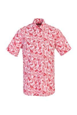 Erkek Giyim - MERCAN KIRMIZI 3X Beden Kısa Kol Desenli Spor Gömlek