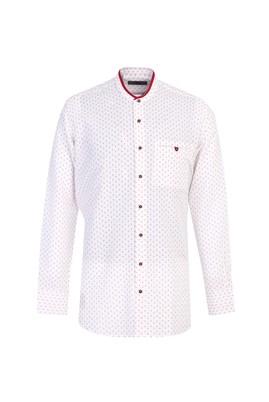 Erkek Giyim - MERCAN KIRMIZI L Beden Uzun Kol Desenli Spor Gömlek