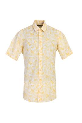 Erkek Giyim - AÇIK SARI 4X Beden Kısa Kol Desenli Spor Gömlek