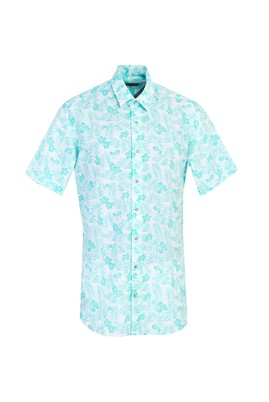 Erkek Giyim - ÇAĞLA YEŞİLİ L Beden Kısa Kol Desenli Spor Gömlek