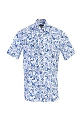 Erkek Giyim - MAVİ L Beden Kısa Kol Desenli Spor Gömlek