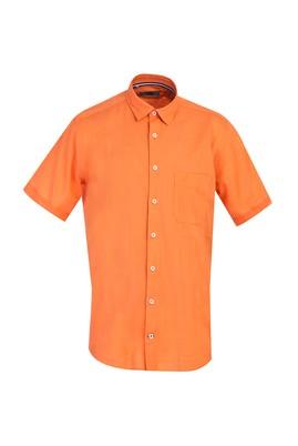 Erkek Giyim - ORTA TURUNCU 3X Beden Kısa Kol Klasik Gömlek