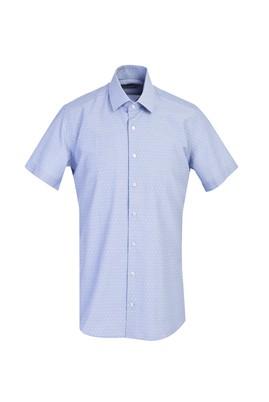 Erkek Giyim - KOYU MAVİ L Beden Kısa Kol Slim Fit Desenli Gömlek