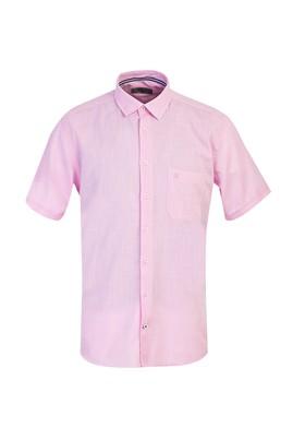 Erkek Giyim - ORTA PEMBE L Beden Kısa Kol Klasik Gömlek