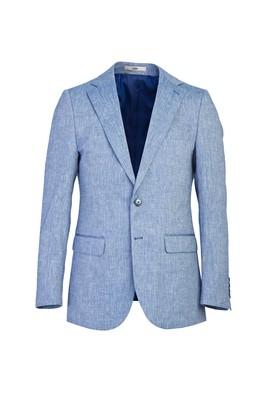 Erkek Giyim - AÇIK MAVİ 52 Beden Klasik Desenli Ceket