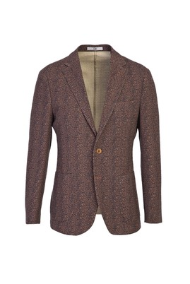 Erkek Giyim - KİREMİT 48 Beden Slim Fit Spor Desenli Ceket