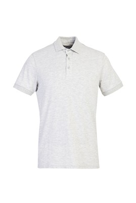 Erkek Giyim - AÇIK GRİ MELANJ 3X Beden Polo Yaka Slim Fit Tişört
