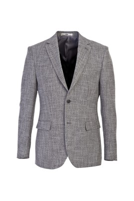 Erkek Giyim - SİYAH 56 Beden Slim Fit Desenli Ceket