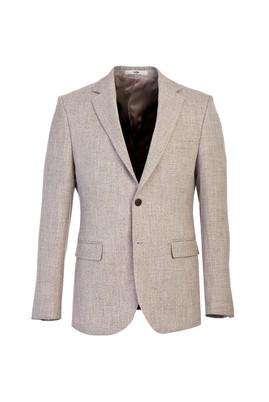Erkek Giyim - ORTA BEJ 50 Beden Slim Fit Desenli Ceket