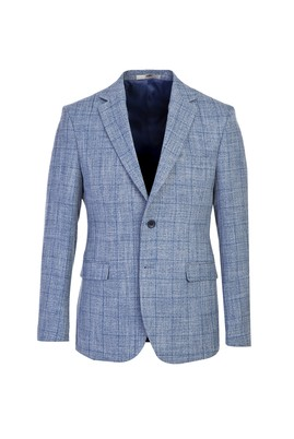 Erkek Giyim - ORTA LACİVERT 46 Beden Slim Fit Desenli Ceket