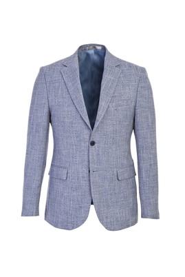 Erkek Giyim - AÇIK LACİVERT 48 Beden Slim Fit Desenli Ceket