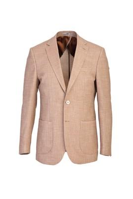Erkek Giyim - AÇIK KAHVE 46 Beden Slim Fit Kuşgözü Ceket