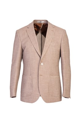 Erkek Giyim - ORTA KAHVE 46 Beden Slim Fit Kuşgözü Ceket