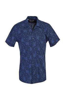 Erkek Giyim - ORTA LACİVERT L Beden Kısa Kol Desenli Spor Slim Fit Gömlek