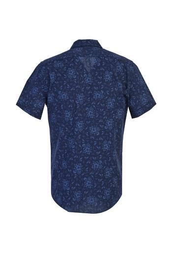 Erkek Giyim - Kısa Kol Desenli Spor Slim Fit Gömlek