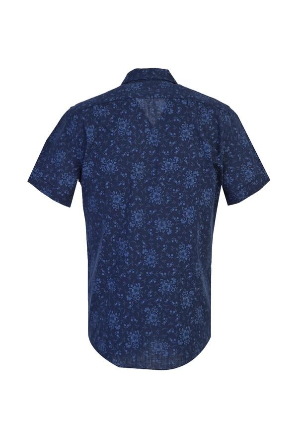 Kısa Kol Desenli Spor Slim Fit Gömlek