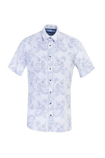 Erkek Giyim - Kısa Kol Çizgili Slim Fit Gömlek