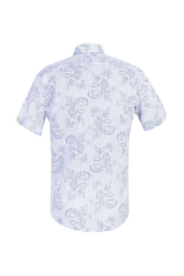Kısa Kol Çizgili Slim Fit Gömlek