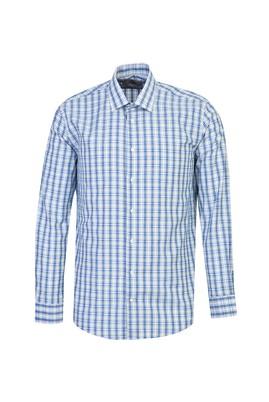 Erkek Giyim - KOYU MAVİ XL Beden Uzun Kol Slim Fit Ekose Gömlek