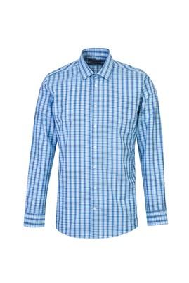 Erkek Giyim - AÇIK TURKUAZ L Beden Uzun Kol Slim Fit Ekose Gömlek