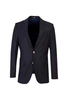 Erkek Giyim - KOYU LACİVERT 50 Beden Yünlü Blazer Ceket