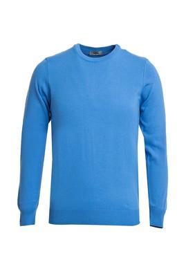 Erkek Giyim - Açık Mavi 3X Beden Bisiklet Yaka Slim Fit Triko Kazak