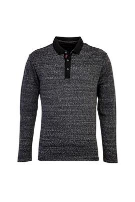Erkek Giyim - SİYAH L Beden Polo Yaka Sweatshirt