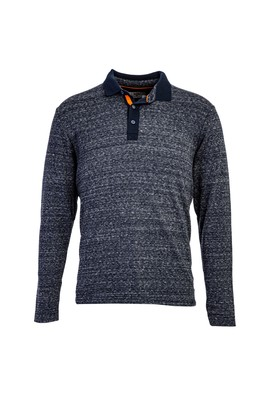 Erkek Giyim - LACİVERT 3X Beden Polo Yaka Sweatshirt