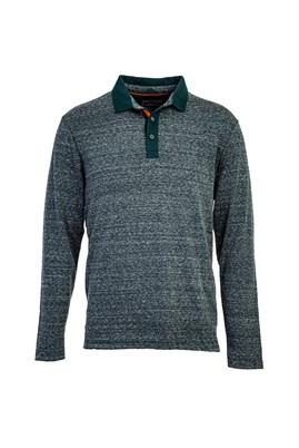 Erkek Giyim - KOYU YESİL L Beden Polo Yaka Sweatshirt