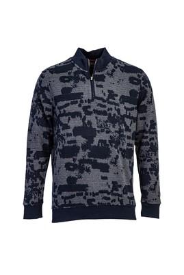 Erkek Giyim - LACİVERT M Beden Bato Yaka Fermuarlı Sweatshirt