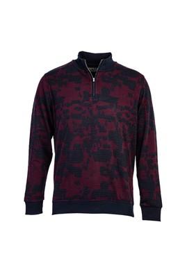 Erkek Giyim - BORDO 3X Beden Bato Yaka Fermuarlı Sweatshirt