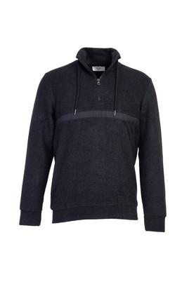 Erkek Giyim - ANTRASİT XL Beden Bato Yaka Fermuarlı Sweatshirt