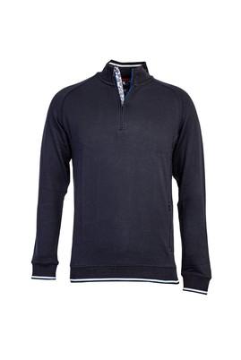 Erkek Giyim - LACİVERT L Beden Bato Yaka Fermuarlı Slim Fit Sweatshirt