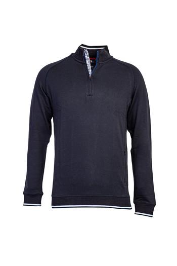 Erkek Giyim - Bato Yaka Fermuarlı Slim Fit Sweatshirt