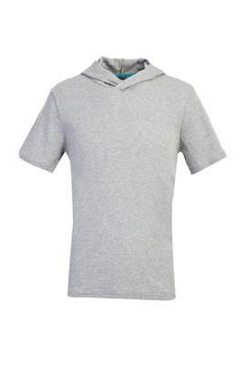 Erkek Giyim - ORTA FÜME M Beden Kapüşonlu Kısa Kol Slim Fit Sweatshirt