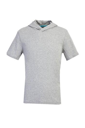 Erkek Giyim - Kapüşonlu Kısa Kol Slim Fit Sweatshirt