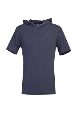 Erkek Giyim - LACİVERT M Beden Kapüşonlu Kısa Kol Slim Fit Sweatshirt