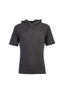Erkek Giyim - ANTRASİT M Beden Kapüşonlu Kısa Kol Slim Fit Sweatshirt