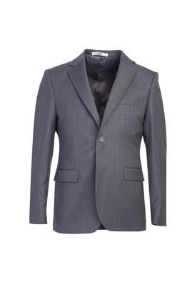 Erkek Giyim - KOYU FÜME 52 Beden Slim Fit Balık Sırtı Ceket