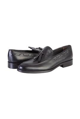 Erkek Giyim - SİYAH 41 Beden Püsküllü Klasik Deri Ayakkabı