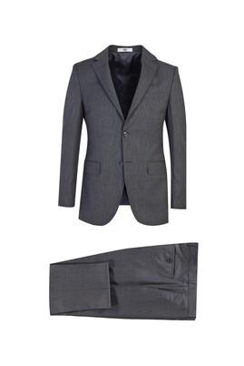 Erkek Giyim - KOYU FÜME 52 Beden Slim Fit Desenli Yünlü Takım Elbise