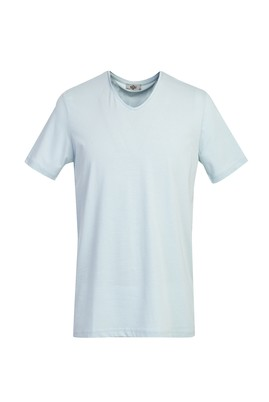 Erkek Giyim - AÇIK MAVİ M Beden V Yaka Regular Fit Tişört