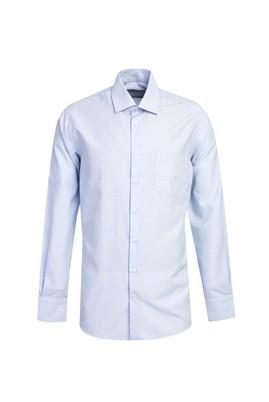 Erkek Giyim - AÇIK MAVİ L Beden Uzun Kol Desenli Gömlek