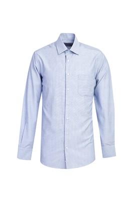 Erkek Giyim - GÖK MAVİSİ S Beden Uzun Kol Desenli Gömlek