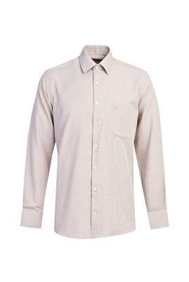 Erkek Giyim - ORTA KAHVE L Beden Uzun Kol Klasik Gömlek