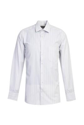 Erkek Giyim - KOYU LACİVERT L Beden Uzun Kol Çizgili Klasik Gömlek